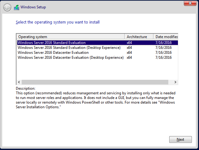 Selecting Server Core during the Windows Setup Procesdure
