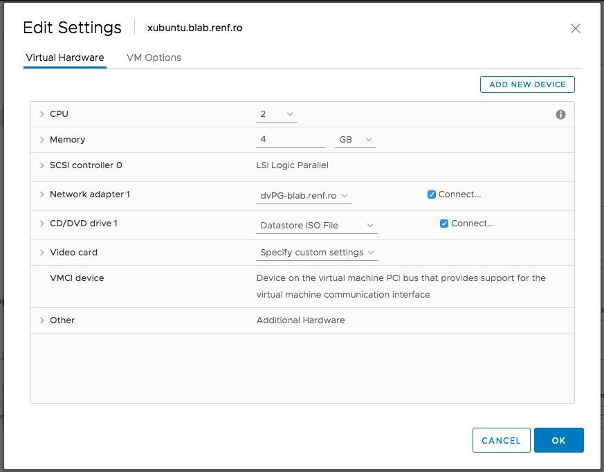 Xubuntu VM Settings