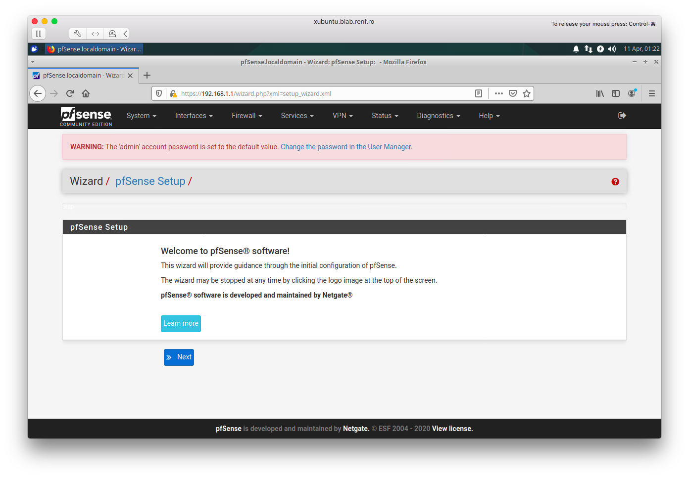 pfSense Welcome Page